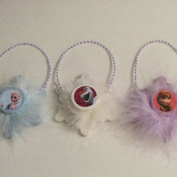 Disney Frozen Snowflake Christmas Ornaments - Set of 3 - Girls Princess Room Decor - Door Knob Hangers - Elsa Olaf Anna