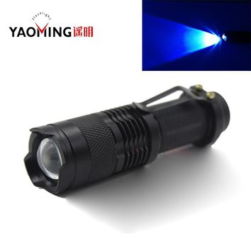 Mini 365nm Purple light CREE Q5 focus Zoomable rechargeable led UV light ultraviolet rays flashlight torch penlight lamp 14500