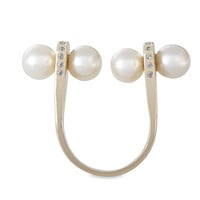 Twin Pearls Open Ring