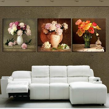 WJJ 3 PCS Wall Art Modern Paintings On Canvas Modular Pictures Fresh Flower Wall Pictures For Living Room HD Cuadros Decoracion