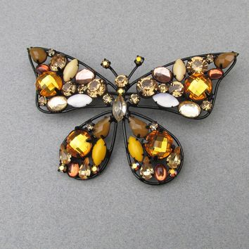 NEW IN Box!  BIG Vintage 1990's Joan RIVERS Japanned Amber Rhinestone BUTTERFLY Pin