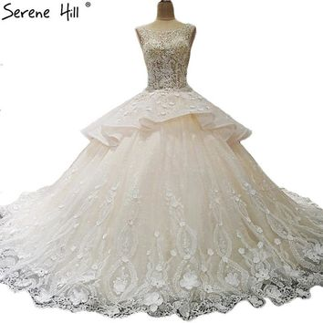 High-end Sexy Lace Flowers Bridal Wedding Dresses Sleeveless Sequined Luxury Wedding Gwons Vestido De Noiva Vintage 2018
