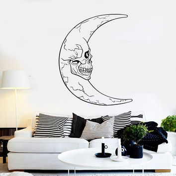 Vinyl Wall Decal Crescent Moon Skull Horror Decor Stickers Unique Gift (ig4375)