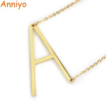 Anniyo (A-Z) Letter Necklaces Alfabet Initial Necklace Gold Color Stainless Steel Pendant Necklaces Women Jewelry Gift #040602