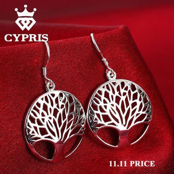 HOT elegant Silver Tree Of Life drop earrings totem gift wife unique magic women wedding Valentines Day love sale Cypris 925