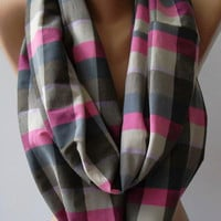 Infinity - Loop - Circle / Elegant ...Feminine - Summer - Scarf -Plaid
