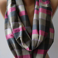Dance of the Colors Collection - -Plaid - Infinity - Loop - Circle / Elegant ...Feminine - Summer - Shawl - Scarf