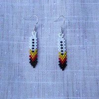 Native American Beaded Feather Earrings - Four Directions
