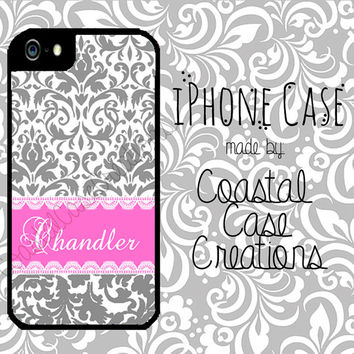 Grey Damask Pink Monogram Custom Apple iPhone 4/5 Hard Plastic Cell Phone Case Original Trendy Stylish Monogram Design
