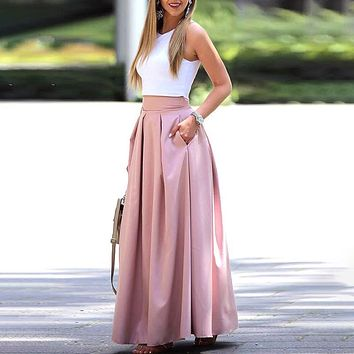 Elegant Sleeveless Cropped Top & Pleated Maxi Skirt Sets