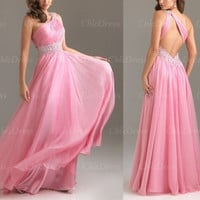 Hot Sale Chiffon One-Shoulder A-Line Long Prom Dress = 1956889860