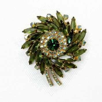 Juliana Green Rhinestone Brooch, Delizza and Elster, Vintage Jewelry, Open Back Rhinestone, Crystal Brooch, Green Brooch, Navette Rhinestone