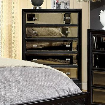 5- Drawer Wooden Chest with Gold tinted mirror panels, Black