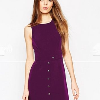 Violet Sleeveless Buttons Down Bodycon Dress