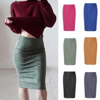 2017 Women Suede Multi Color Pencil Midi Skirt Female Autumn Winter Basic Tube Bodycon Skirts Saia Femininas