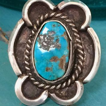 Signed Navajo Sterling Silver Ring with Turquoise Size: 7