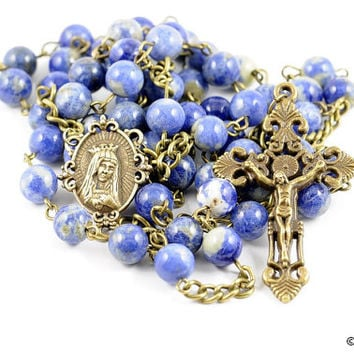 Wire Wrapped Rosary Sodalite Antique Bronze Traditional Catholic