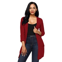 Burgundy 3/4 Sleeve Open Front Casual Knit Sweater
