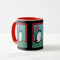 Cute Black and White Tuxie cat with Orchid Flower Mug