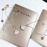 BVlgari Fashion New Diamond Pendant Sterling Silver Women Personality Necklace