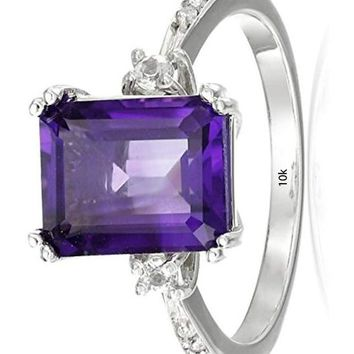 CERTIFIED 2.8 Carats 10k White Gold, Emerald-Cut Gemstone and Diamond Accent Ring