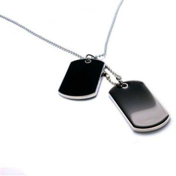 CREYCI7 Tactical Army Style Black 2 Dog Tags Chain Beauty Mens Pendant Necklace for Men Jewelry 9ANB