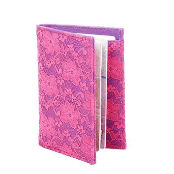 Lace Passport Holder Pink Purple Women Passport Cover PU Leather Passport Wallet Travel Accessories New Arrivel