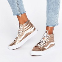 Vans Exclusive Rose Gold Metallic Sk8 Hi Slim Trainers at asos.com