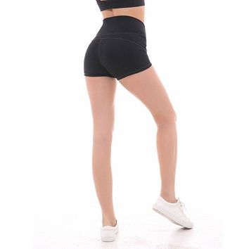Yoga Fitness Shorts Women High Waist Tight Sports Shorts Workout Athletic Quick Dry Training Gym Leggings Control Solid