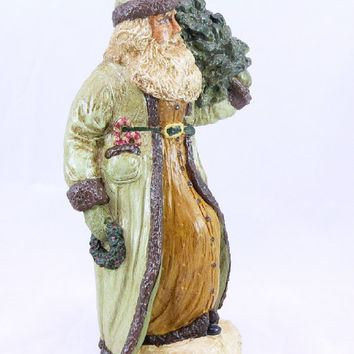 Chalkware Belsnickle Chalkware Santa Chalkware Belsnickle Santa Painted Wedgewood Green Carrying a Wreath and Tree