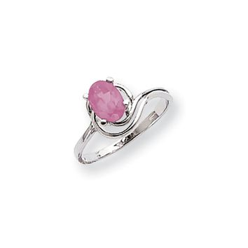 14k White Gold 7x5mm Oval Pink Sapphire Ring