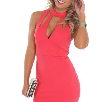 High Neck Cut Bodycon Coral