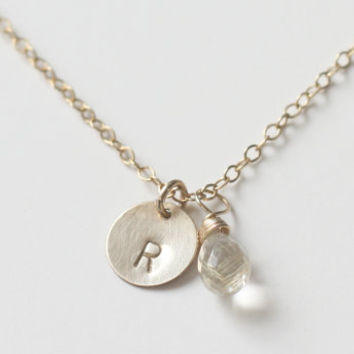 Initial disc charm and wire wrapped AAA golden rutile teardrop gemstone necklace in 14k gold