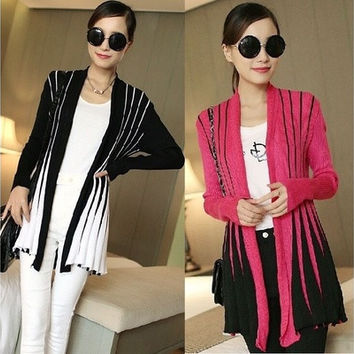Fashion Women  Fall Cotton Long Sleeve Knitted Cardigan Sweater Outwear Blouse Tops [8833532556]