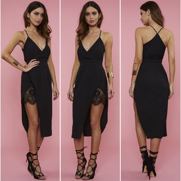 Halter V-Neck Asymmetric Wrap Lace Panel Midi Dress