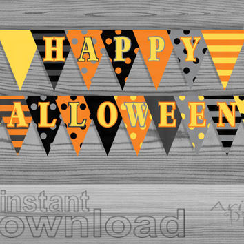 DIY Printable Banner, Happy Halloween Party, Polka Dot Striped, Holiday , black, orange, bunting banner, ready to print, instant download