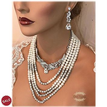 Multi Strand Ivory Pearl Crystal Bridal Jewelry Set