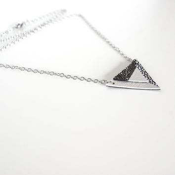 Galaxy Geometric Leather Necklace // Silver Steel Chain // Holographic Black White Triangle Art deco Pendant