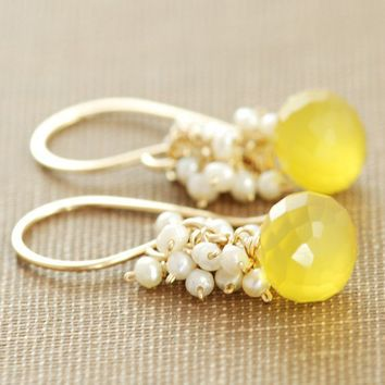 Yellow Chalcedony and Seed Pearls Handmade Earrings by aubepine