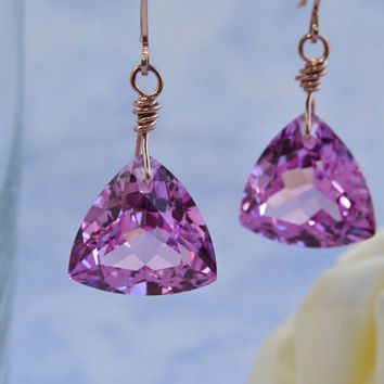 Pink Topaz Earrings, Rose Gold, Handmade, Luxe Earrings, Topaz Dangle, Happy Cats Designs