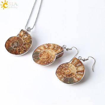 CSJA Natural Unique Ammonite Jewelry Set Fossils Necklaces Pendants Conch Shell Snail Spiral Dangle Earrings Pendants Sets E392