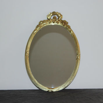 Vintage gold oval Homco mirror, Hollywood Regency mirror, ornate mirror, vintage mirror, gold decor