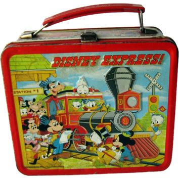 Vintage Metal Lunch Box Disney Express by Aladdin 1979 / Walt Disney Productions Lunch Kit