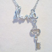 eBlueJay: Love Script Skeleton Key Necklace Valentines Day Costume Jewelry Fashion Accessories For Her