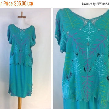 SUMMER SALE 35% off Bali Dress Summer Dress Vintage Hippie Dress Cutwork Lace Top Beach Vacation Style Easy Fit possible S M