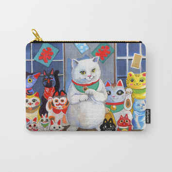 Lucky Cats Carry-All Pouch by Christina Siravo