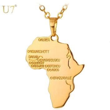 U7 Africa Necklace Gold Color Pendant & Chain Jewelry