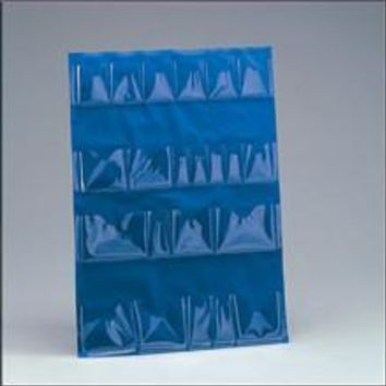 Inside door pocket liner- vinyl- blue- for 5 shelf cabinet- 22 clear pockets- 1 ea.