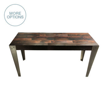 Reclaimed Wood and Hand Welded Steel Industrial Table