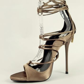 So Me Mista Satin Strappy Lace Up High Stiletto Heel Shoe Olive Green